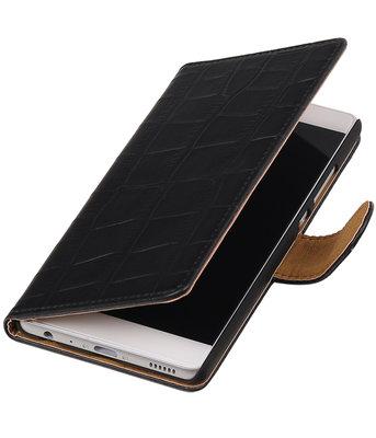 Zwart Krokodil booktype wallet cover voor Hoesje voor Huawei P9 Plus