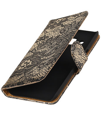 Zwart Lace booktype wallet cover hoesje voor Huawei P9 Plus