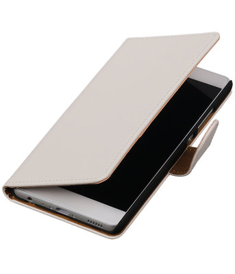 Wit Effen booktype wallet cover hoesje voor Huawei P9 Plus