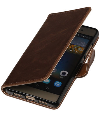 Mocca Pull-Up PU booktype wallet cover voor Hoesje voor Huawei P9 Plus