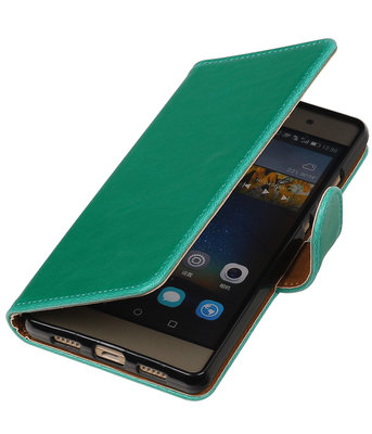 Groen Pull-Up PU booktype wallet cover hoesje voor Huawei P9 Plus