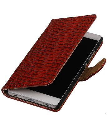 Rood Slang booktype wallet cover voor Hoesje voor Huawei P9 Plus