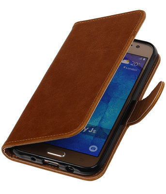 Bruin Pull-Up PU booktype wallet cover hoesje voor Samsung Galaxy J5 (2016)