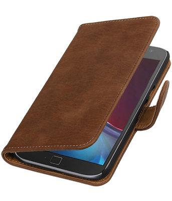 Bruin Hout booktype wallet cover voor Hoesje voor Motorola Moto G4 / G4 Plus