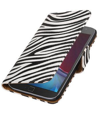 Zebra booktype wallet cover voor Hoesje voor Motorola Moto G4 / G4 Plus