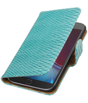 Turquoise Slang booktype wallet cover voor Hoesje voor Motorola Moto G4 / G4 Plus