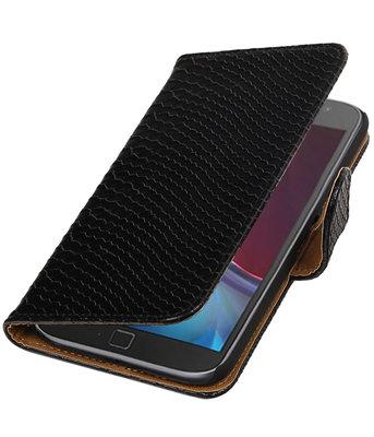 Zwart Slang booktype wallet cover voor Hoesje voor Motorola Moto G4 / G4 Plus