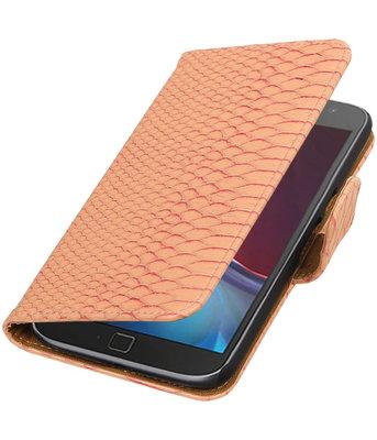 Roze Slang booktype wallet cover voor Hoesje voor Motorola Moto G4 / G4 Plus