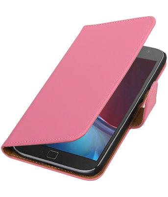 Roze Effen booktype wallet cover voor Hoesje voor Motorola Moto G4 / G4 Plus