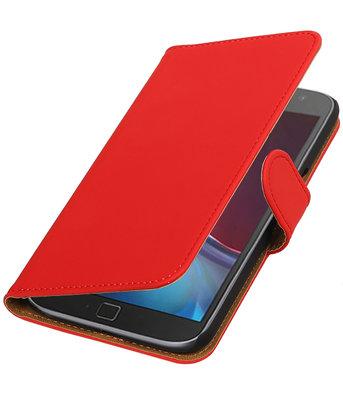 Rood Effen booktype wallet cover voor Hoesje voor Motorola Moto G4 / G4 Plus