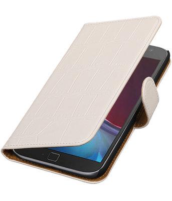 Wit Krokodil booktype wallet cover voor Hoesje voor Motorola Moto G4 / G4 Plus