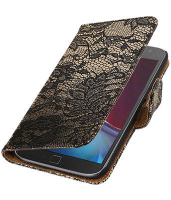 Zwart Lace booktype wallet cover voor Hoesje voor Motorola Moto G4 / G4 Plus