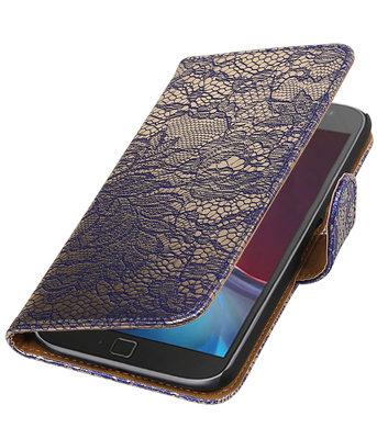 Blauw Lace booktype wallet cover voor Hoesje voor Motorola Moto G4 / G4 Plus