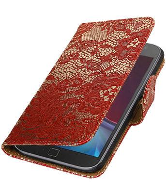 Rood Lace booktype wallet cover voor Hoesje voor Motorola Moto G4 / G4 Plus