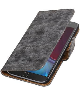 Grijs Mini Slang booktype wallet cover voor Hoesje voor Motorola Moto G4 / G4 Plus