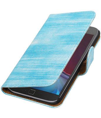 Turquoise Mini Slang booktype wallet voor Hoesje voor Motorola Moto G4 / G4 Plus