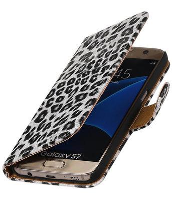 Wit Luipaard booktype wallet cover voor Hoesje voor Nokia Lumia 525