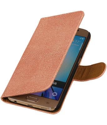 Licht Roze Ribbel booktype wallet cover voor Hoesje voor LG G2
