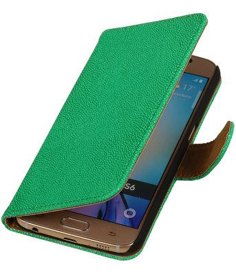 Groen Ribbel booktype wallet cover voor Hoesje voor Huawei Ascend G6
