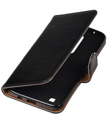 Zwart Pull-Up PU booktype wallet cover voor Hoesje voor LG K8 2016