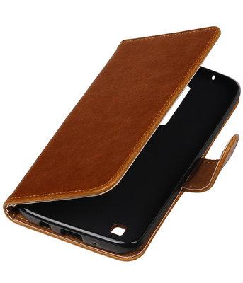 Bruin Pull-Up PU booktype wallet cover voor Hoesje voor LG K8