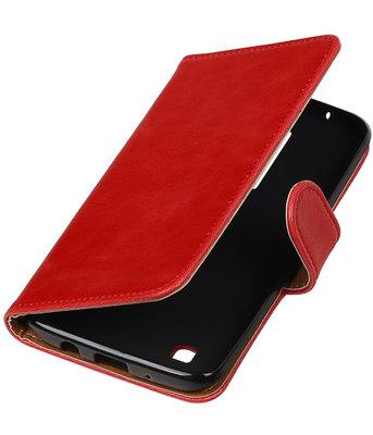 Rood Pull-Up PU booktype wallet cover voor Hoesje voor LG K8