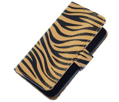 Bruin Zebra booktype wallet cover hoesje voor HTC One S
