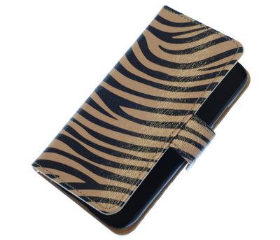 Grijs Zebra booktype wallet cover hoesje voor HTC One S