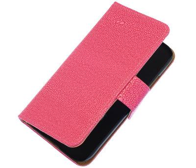 Roze Ribbel booktype wallet cover voor Hoesje voor HTC One S