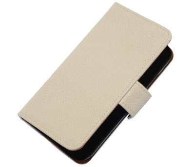 Wit Ribbel booktype wallet cover hoesje voor HTC One S