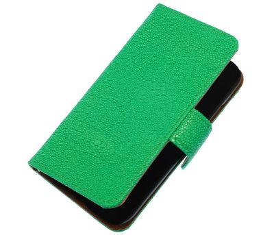 Groen Ribbel booktype wallet cover hoesje voor HTC One S