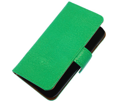 Groen Ribbel booktype wallet cover voor Hoesje voor Apple iPhone 3G / 3GS