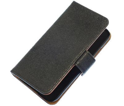 Zwart Ribbel booktype wallet cover voor Hoesje voor Apple iPhone 5C