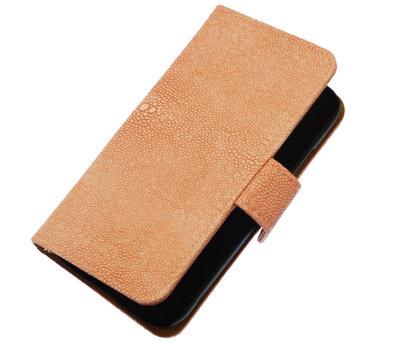 Licht Roze Ribbel booktype wallet cover voor Hoesje voor Sony Xperia M
