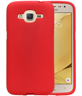 Rood Zand TPU back case cover hoesje voor Samsung Galaxy J2 2016