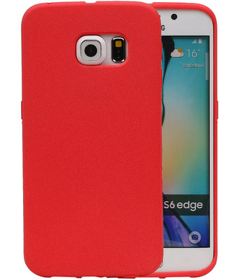 Rood Zand TPU back case cover voor Hoesje voor Samsung Galaxy S6 Edge