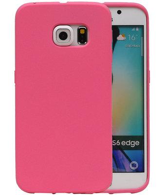Roze Zand TPU back case cover voor Hoesje voor Samsung Galaxy S6 Edge