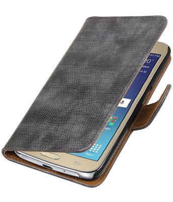 Grijs Mini Slang booktype wallet cover voor Hoesje voor Samsung Galaxy J2 2016