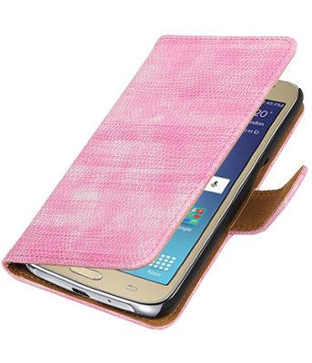 Roze Mini Slang booktype wallet cover voor Hoesje voor Samsung Galaxy J2 2016
