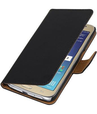 Zwart Effen booktype wallet cover voor Hoesje voor Samsung Galaxy J2 2016
