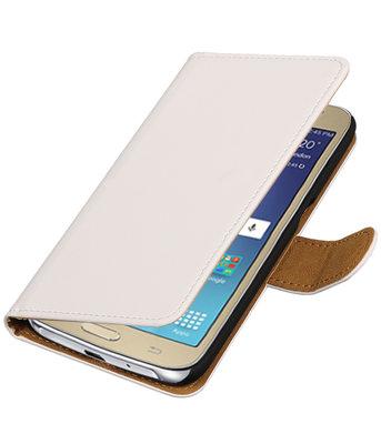 Wit Effen booktype wallet cover voor Hoesje voor Samsung Galaxy J2 2016