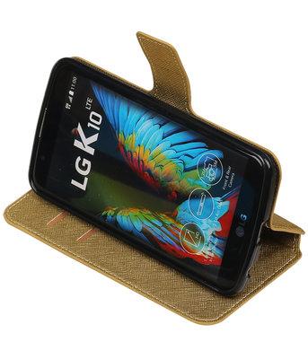 Goud Hoesje voor LG K10 TPU wallet case booktype HM Book