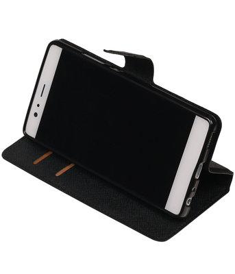 Zwart Hoesje voor Huawei P9 TPU wallet case booktype HM Book