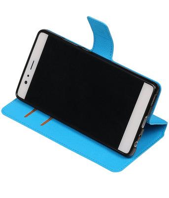 Blauw Hoesje voor Huawei P9 TPU wallet case booktype HM Book