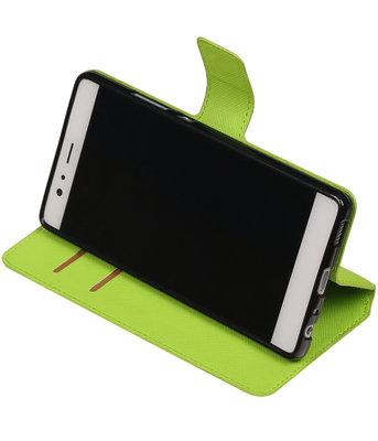 Groen Hoesje voor Huawei P9 TPU wallet case booktype HM Book