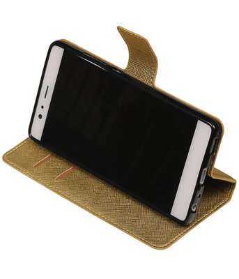 Goud Hoesje voor Huawei P9 TPU wallet case booktype HM Book