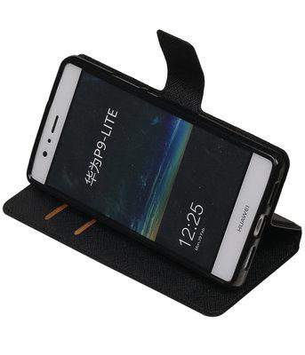 Zwart Hoesje voor Huawei P9 Lite TPU wallet case booktype HM Book
