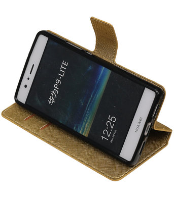 Goud Hoesje voor Huawei P9 Lite TPU wallet case booktype HM Book