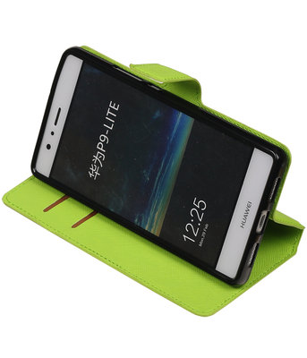 Groen Hoesje voor Huawei P9 Lite TPU wallet case booktype HM Book