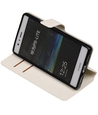 Wit Hoesje voor Huawei P9 Lite TPU wallet case booktype HM Book